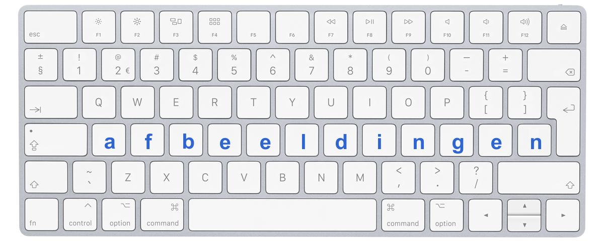 """Afbeelding toetsenbord met letters """"afbeeldingen"""""""