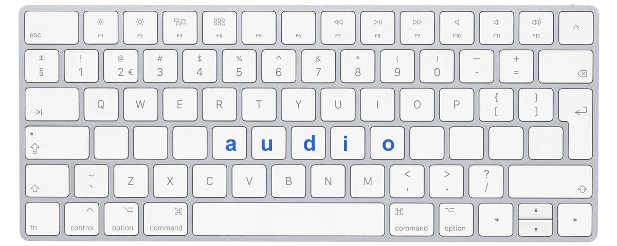 """Afbeelding toetsenbord met letters """"audio"""""""