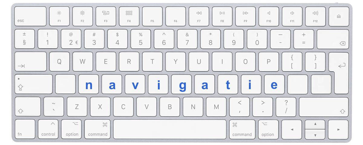 """Afbeelding toetsenbord met letters """"navigatie"""