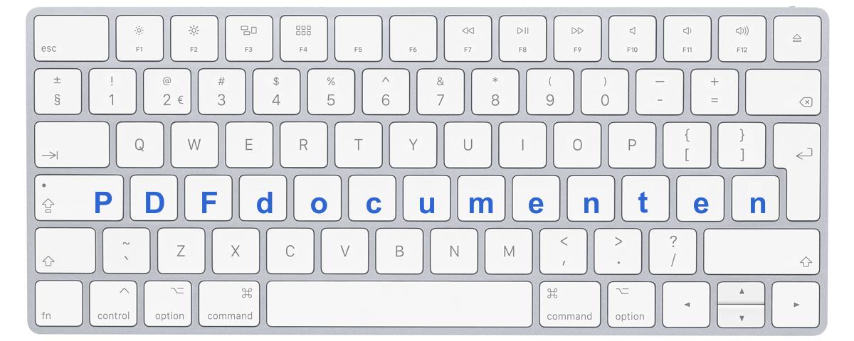 """Afbeelding toetsenbord met letters """"pdf documenten"""""""